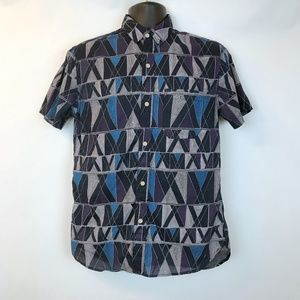 KOTO UO Button Front Shirt Men Blue Purple S